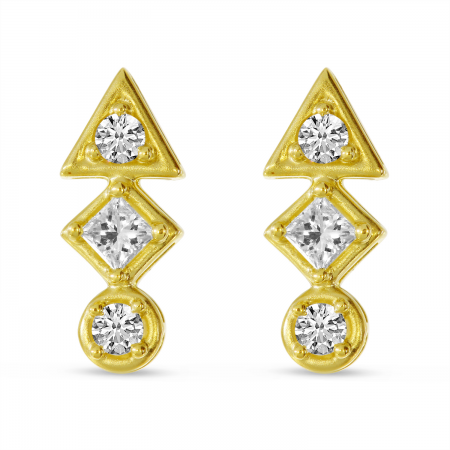 14K Yellow Gold Triple Diamond Bar Geo Stud Earrings