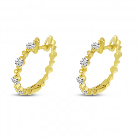 14K Yellow Gold Diamond Beaded Hoop Earrings