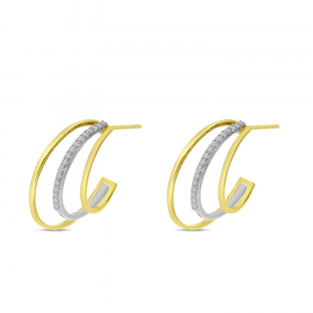 14K Yellow Gold Two-Tone Diamond Triple Huggie Earrings