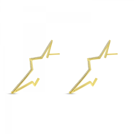 14K Yellow Gold Large Diamond Starburst Earrings