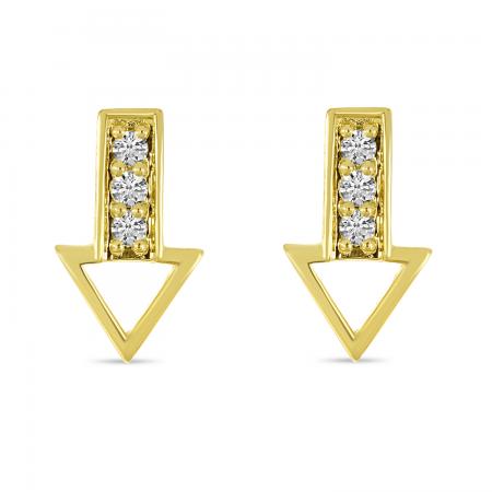 14K Yellow Gold Triple Diamond Arrow Stud Earrings