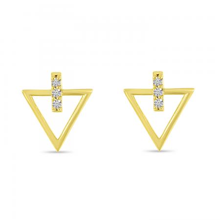 14K Yellow Gold Diamond Open Arrow Stud Earrings