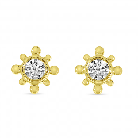 14K Yellow Gold Petite Diamond Beaded Stud Earrings