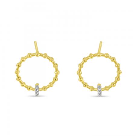 14K Yellow Gold Beaded Circle Diamond Bar Earrings