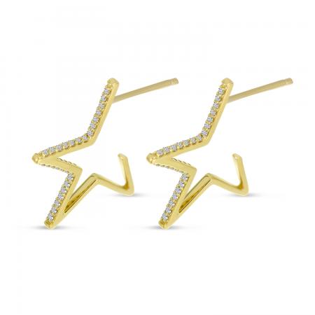 14K Yellow Gold Diamond Star Huggie Earrings