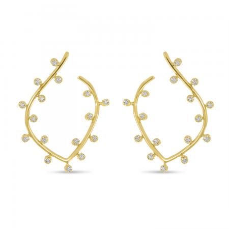 14K Yellow Gold Bubble Front Leaf Hoop Earrings