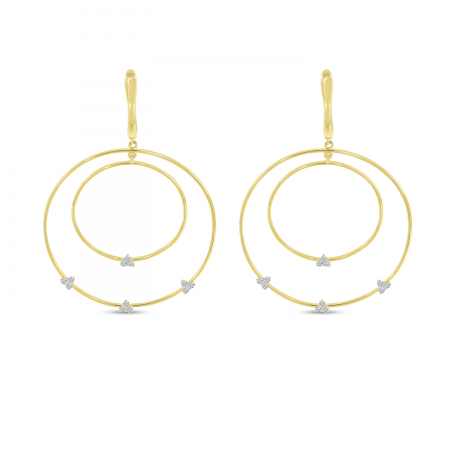 14K Yellow Gold Double Hoop Diamond Cluster Earrings