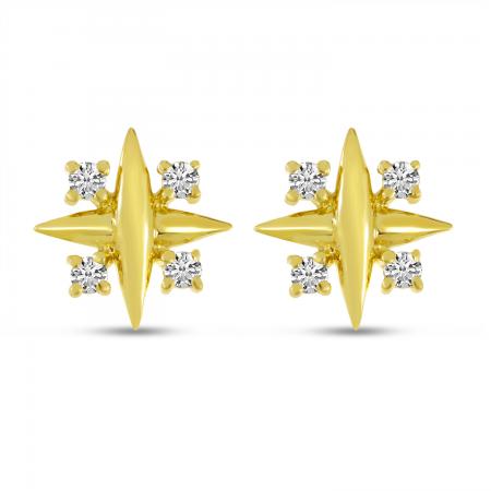 14K Yellow Gold Diamond X Post Earrings