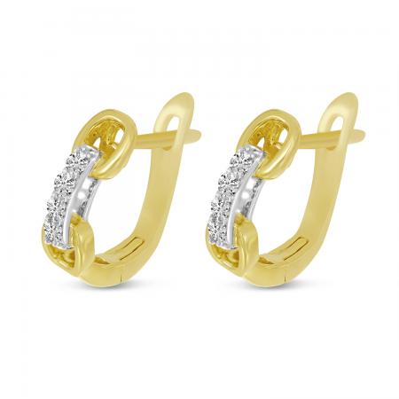 14K Yellow Gold Diamond Link Huggie Earrings