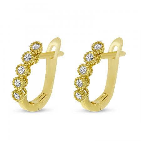 14K Yellow Gold 5 Diamond Millgrain Hoop Earrings