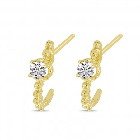14K Yellow Gold Diamond Beaded Huggie Earrings