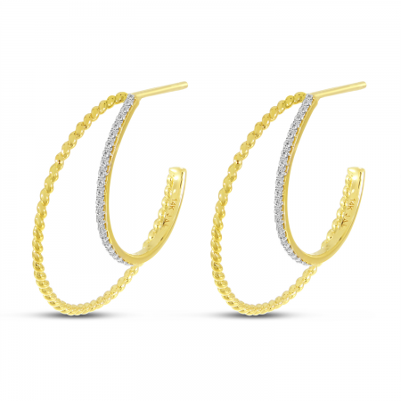14K Yellow Gold Diamond Twist Double Hoops