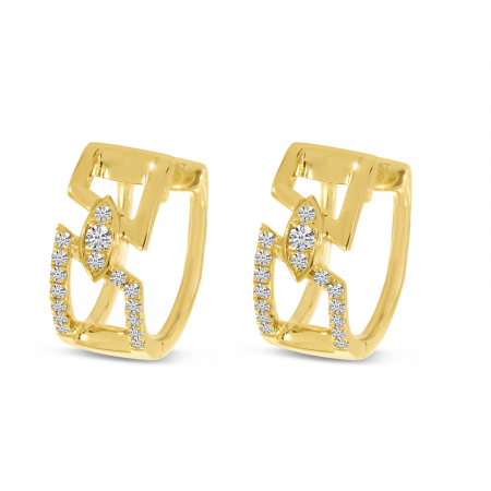14K Yellow Gold Geometric Open Diamond Huggie Earrings