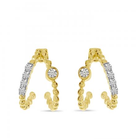 14K Yellow Gold Diamond Beaded Double Huggie Earrings