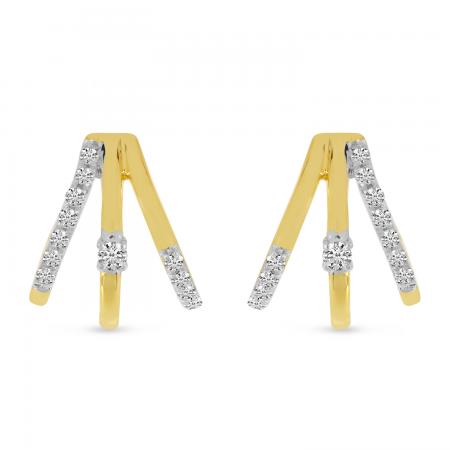14K Yellow Gold Diamond Triple Huggie Earrings