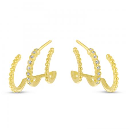 14K Yellow Gold Diamond Beaded Triple Row Huggie Earrings