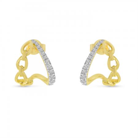 14K Yellow Gold Diamond & Link Split Huggie Earrings