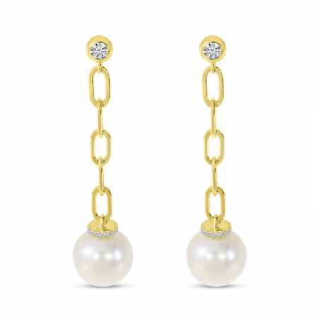 14K Yellow Gold Link Pearl Earrings
