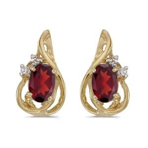14k Yellow Gold Oval Garnet And Diamond Teardrop Earrings