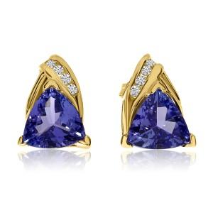 14K Yellow Gold 7mm Trillion Tanzanite and Diamond Earrings