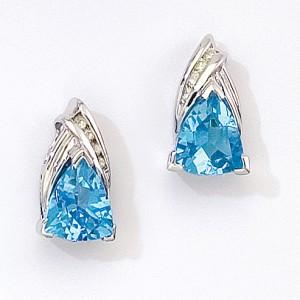 14k White Gold Triangle Stud Gemstone Earrings with Diamonds