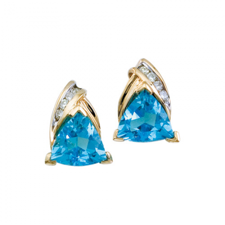 14k Yellow Gold Triangle Stud Gemstone Earrings with Diamonds