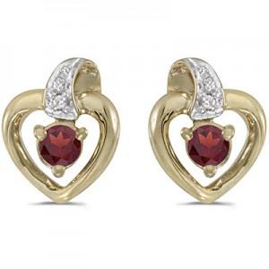 10k Yellow Gold Round Garnet And Diamond Heart Earrings