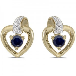 10k Yellow Gold Round Sapphire And Diamond Heart Earrings