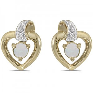 10k Yellow Gold Round Opal And Diamond Heart Earrings
