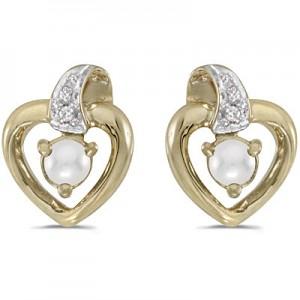 14k Yellow Gold Pearl And Diamond Heart Earrings