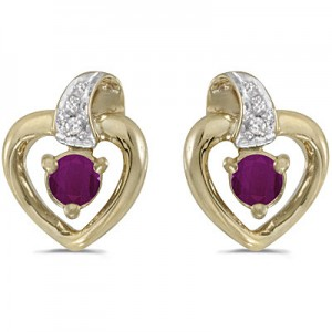 14k Yellow Gold Round Ruby And Diamond Heart Earrings