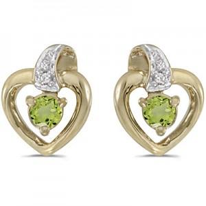 14k Yellow Gold Round Peridot And Diamond Heart Earrings
