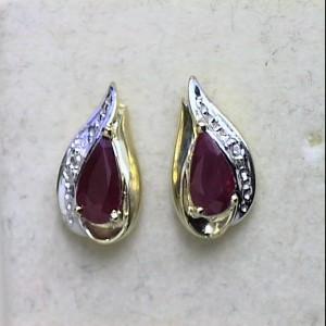 14k Yellow Gold Precious and Diamond Teardrop Stud Earrings