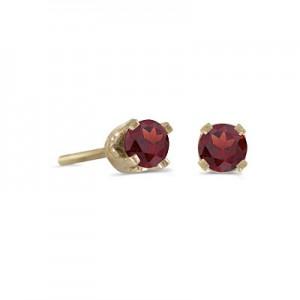 14k Yellow Gold Round Garnet Stud Earrings