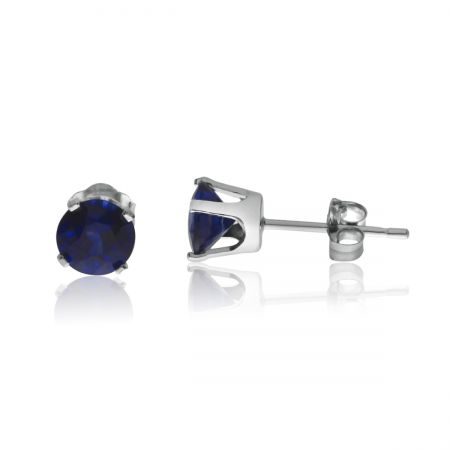14K White Gold 5mm Diffused Sapphire Birthstone Earrings