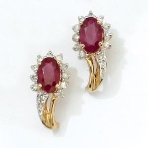 14K Yellow Gold Oval Gemstone and Diamond Earrings