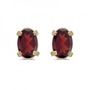 14k Yellow Gold Oval Garnet Earrings