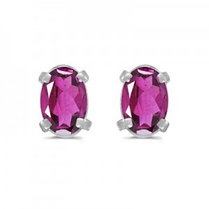 14k White Gold Oval Pink Topaz Earrings