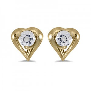 14k Yellow Gold Round White Topaz Heart Earrings