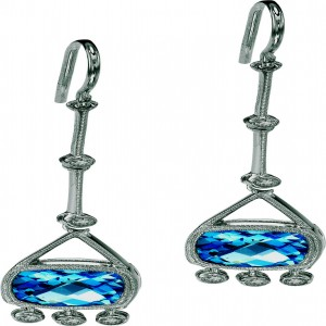 14k White Gold Semiprecious and Diamond Dangle Earrings