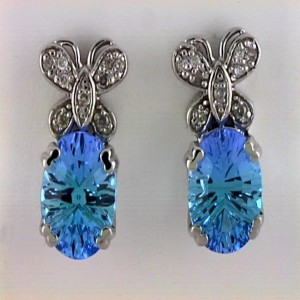 14k White Gold Oval Gemstone and Diamond Butterfly Earrings