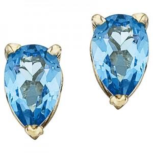 14K Yellow Gold Birthstone Pear Blue Topaz Earrings