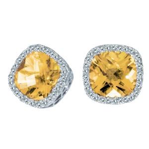 14K White Gold Cushion Citrine and Diamond Fashion Earrings