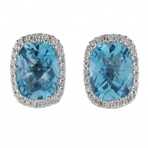 14K White Gold Semi precious Cushion Blue Topaz and Diamond Earrings