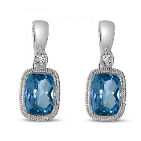 14K White Gold Blue Topaz Cushion Semi & Diamond Earrings