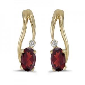 14k Yellow Gold Oval Garnet And Diamond Wave Earrings