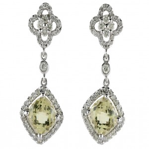 14k White Gold Semiprecious and Diamond Drop Earrings