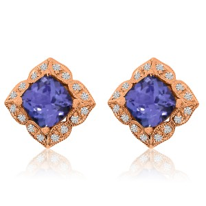 14K Rose Gold 6mm Cushion Tanzanite and Diamond Fashion Earrings