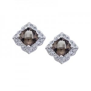 14K White Gold Cushion Smoky Topaz and Diamond Earrings