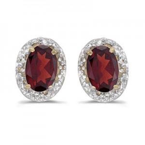 14k Yellow Gold Oval Garnet And Diamond Earrings